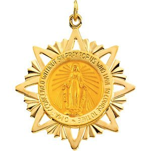 14k Yellow Gold Miraculous Medal (32x29 MM)