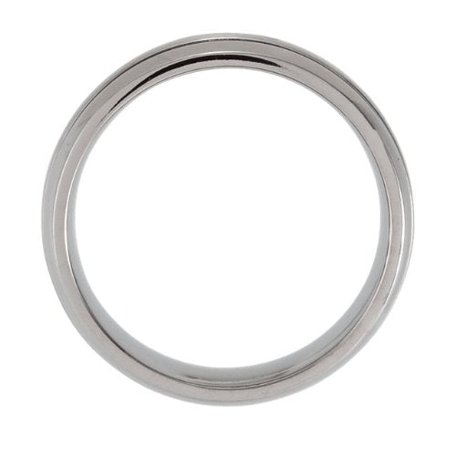 Matte Center and Polished Titanium 8mm Comfort Fit Band Size 9.5
