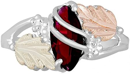 Marquise Created Garnet January Birthstone Ring, Sterling Silver, 12k Green and Rose Gold Black Hills Gold Motif 5.5