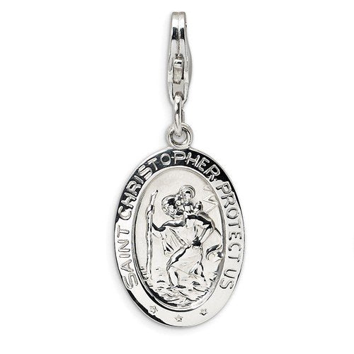 Rhodium-Plated Sterling Silver St. Christopher Medal With Lobster Clasp Charm Pendant (41X13 MM)