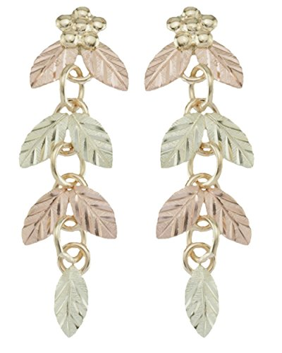 Shimmering Leaf Dangle Earrings, 10k Yellow Gold, 12k Green Gold, 12k Rose Gold Black Hills Gold