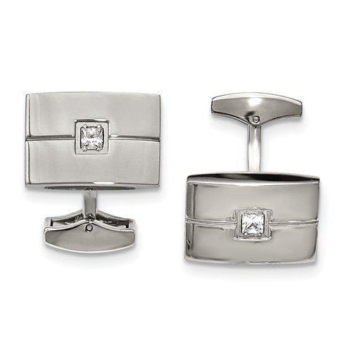 Stainless Steel Polished White Cubic Zirconia Rectangle Cuff Links