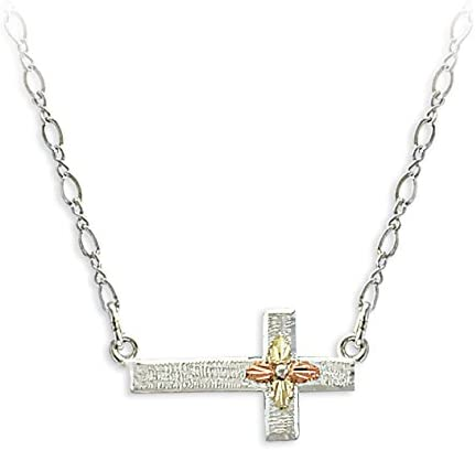 Sideways Cross Pendent Necklace, Sterling Silver, 12k Green and Rose Gold Black Hills Gold Motif, 18""