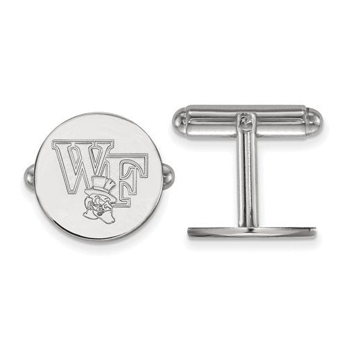 Rhodium-Plated Sterling Silver Wake Forest University Round Cuff Links,15MM