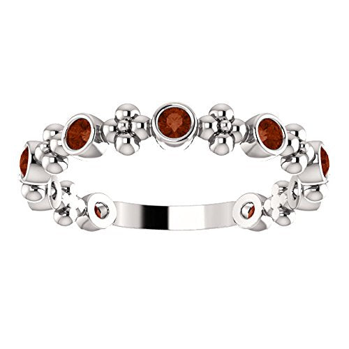 Genuine Mozambique Garnet Beaded Ring , Rhodium-Plated Sterling Silver, Size 7.25