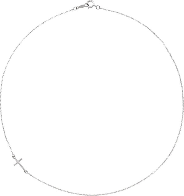 "Platinum Diamond Off-Center Sideways Cross Necklace, 16"" (.05 Ctw, G-H Color, SI2-SI3 Clarity)"