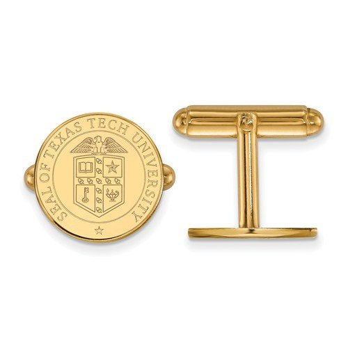 14K Yellow Gold Texas Tech University Crest Cuff Links, 15MM