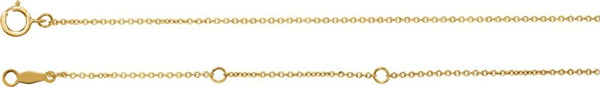 18k Yellow Gold 1mm Solid Cable Chain Necklace, 16""