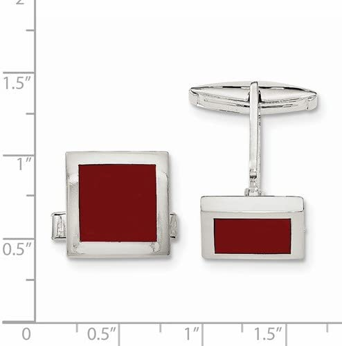 Sterling Silver Red Agate Square Cuff Links