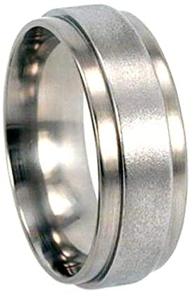 The Men's Jewelry Store (Unisex Jewelry) Two Step Polished, Frosted Finish Titanium Ring, His and Hers Wedding Set