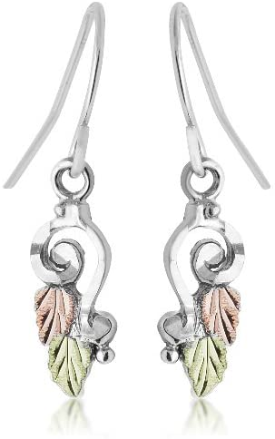 Diamond-Cut Spiral Earrings, Sterling Silver, 12k Green Gold and Rose Gold Black Hills Gold Motif