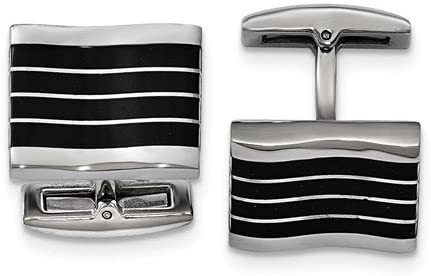 Stainless Steel Black Cat's Eye Rectangle Cuff Links