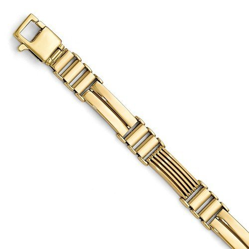 Men's Polished and Brushed 14k Yellow Gold 9.25mm Hollow Link Bracelet, 8.25 ""