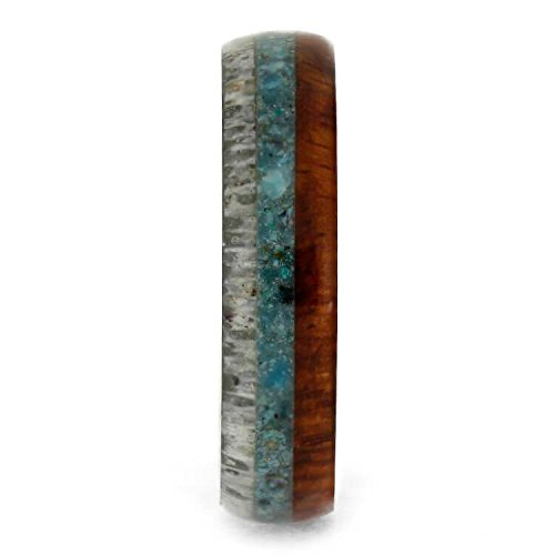 The Men's Jewelry Store (Unisex Jewelry) Crushed Turquoise, Deer Antler, Amboyna Wood, 4.5mm Titanium Comfort-Fit Band, Size 11.5