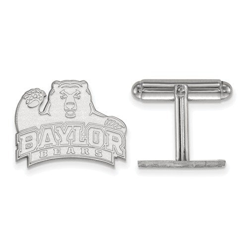 Rhodium-Plated Sterling Silver, Baylor University Cuff Links, 17X20MM
