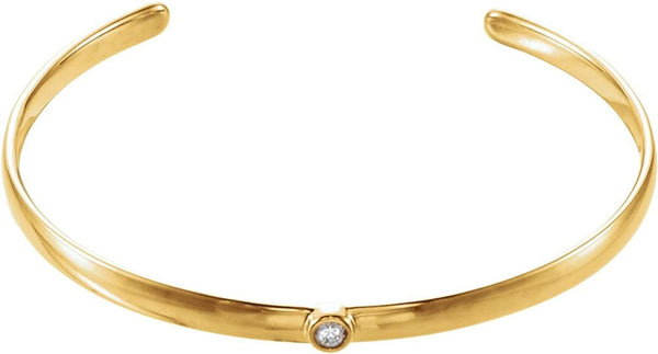 "Diamond Cuff Bracelet, 14k Yellow Gold, 8"" (0.1 Ctw, G-H Color, I1 Clarity)"