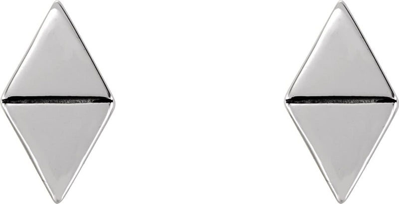 Geometric Triangle Stud Earrings, Rhodium-Plated 14k White Gold