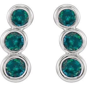Chatham Created Alexandrite Three-Stone Ear Climbers, Rhodium-Plated 14k White Gold
