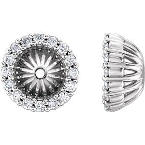 Platinum Diamond Cluster Earring Jackets (5.1 MM) (0.16 Ctw, G-H Color, SI2-SI3 Clarity)