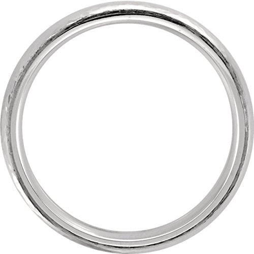 14k White Gold Hammer Finished 6mm Comfort Fit Dome Band, Size10.5