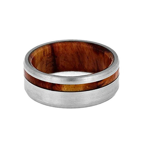 The Men's Jewelry Store (Unisex Jewelry) Beveled Brushed Titanium 8mm Comfort-Fit Tulipwood Sleeve Band