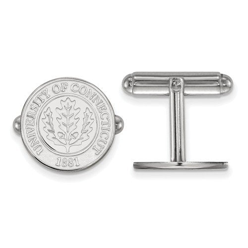 Rhodium-Plated Sterling Silver University Of Connecticut Crest Cuff Links, 16MM
