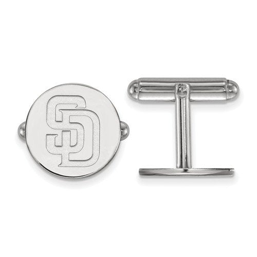 Rhodium-Plated Sterling Silver, MLB San Diego Padres Cuff Links, 15MM