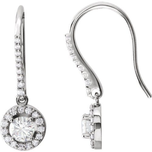 Charles & Colvard Diamond Halo Earrings, 14k White Gold (1 Cttw, Color GH, Clarity I1)