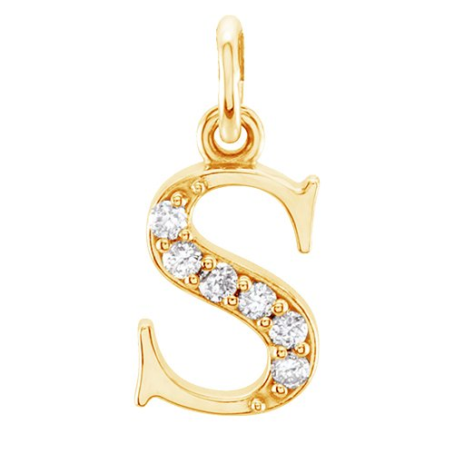 Diamond Initial 's' Lowercase Alphabet Letter 14k Yellow Gold Pendant (.03 Ctw IJ, SI2-SI3)