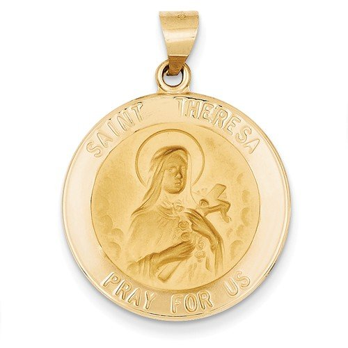 14k Yellow Gold St. Theresa Medal Pendant (26X23MM)