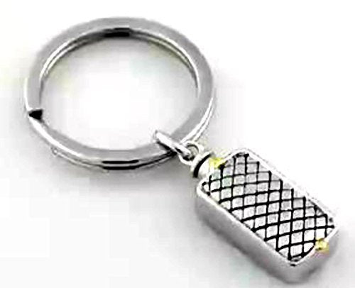Woven Rectangle Ash Holder Key Chain, Rhodium Plate Sterling Silver, Yellow Plated Silver Accents