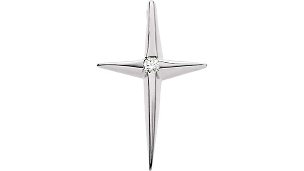 Star of Bethlehem Diamond Cross Rhodium-Plated 14k White Gold Pendant (.25 Ct, G-H Color,SI1 Clarity)