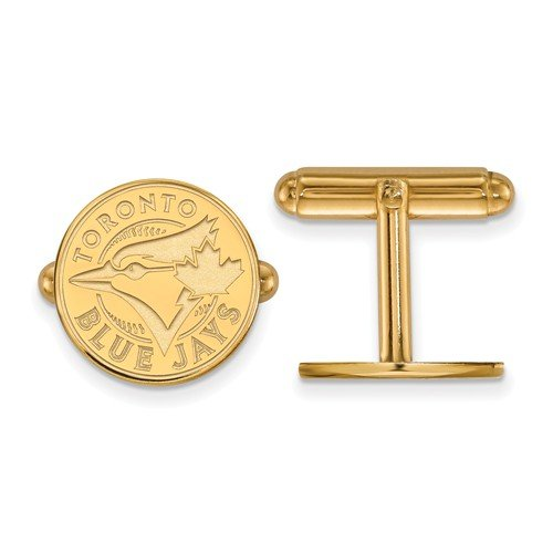 Gold-Plated Sterling Silver MLB Toronto Blue Jays Round Cuff Links, 15MM