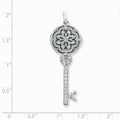 Rhodium Plate Sterling Silver CZ Key Locket Pendant