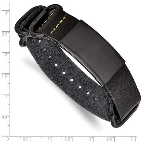 Men's Black Leather, Brushed Black IP, Stainless Steel Adjustable ID Buckle- Clasp Bracelet