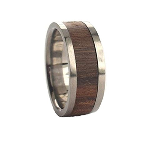 Bolivian Rosewood Inlay 8mm Comfort Fit Titanium Wedding Band, Size 10