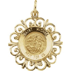 14k Yellow Gold St. Michael Medal with Filigree Frame