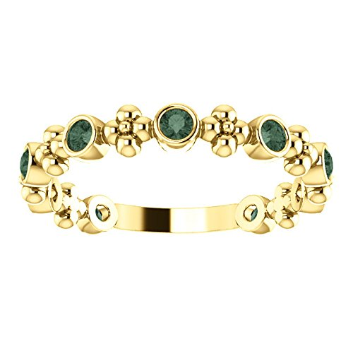 Chatham Created Alexandrite Beaded Ring, 14k Yellow Gold, Size 7