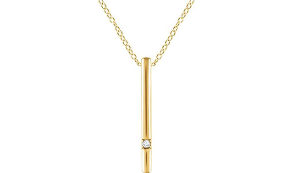 "Diamond Bar Necklace in 14k Yellow Gold, 16-18"" (.015 Ctw, Color H+, Clarity I1)"