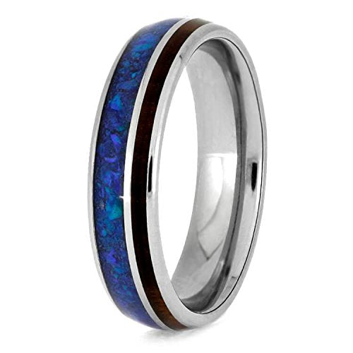 Exotic Snakewood, Synthetic Opal 5mm Comfort-Fit Titanium Band, Size 10