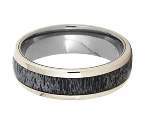 Deer Antler, 14k White Gold 7mm Titanium Comfort-Fit Ring