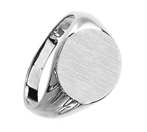 Mens Sterling Silver Flat Top Signet Ring, Size 12