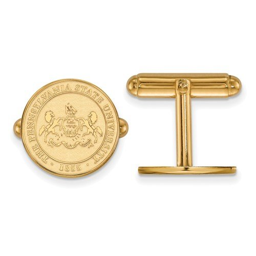 14k Yellow Gold Penn State University Round Crest Cuff Links, 15MM