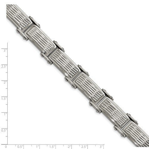 Men's Polished and Brushed Stainless Steel Grooved Textured Link Bracelet, 8.25 ""