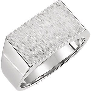 Women's Brushed Signet Ring, Rhodium-Plated 10k White Gold (9x15mm)