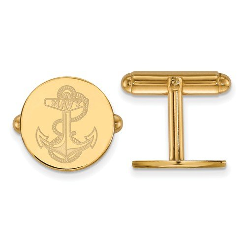 14k Yellow Gold Navy Round Cuff Links, 15MM
