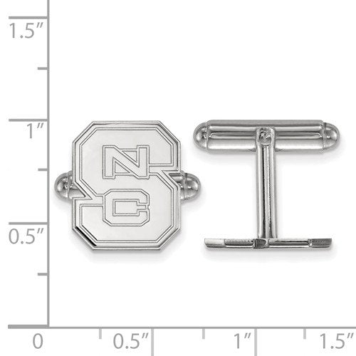 Rhodium-Plated Sterling Silver North Carolina State University Cuff Links, 15X13MM