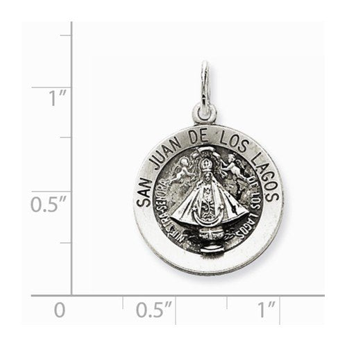 Sterling Silver Antiqued San Juan Los Lagos Medal (26X16MM)