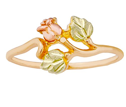 Dakota Rose Ring, 10k Yellow Gold, 12k Green Gold, 12k Rose Gold Black Hills Gold Motif, Size 7