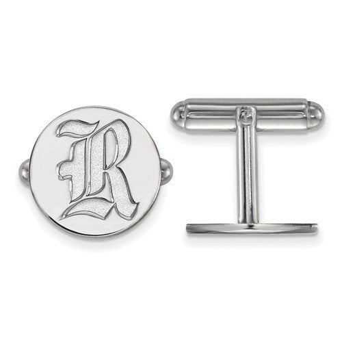 Sterling Silver Rice University Round Cuff Links,15MM